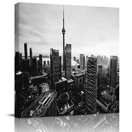 EZON-CH Square Canvas Wall Art Oil Painting Modern Pictures Home Decor,Black and White,Toronto City Buildings Landscape Artworks,Stretched by Wooden Frame,Ready to Hang,28x28 Inch