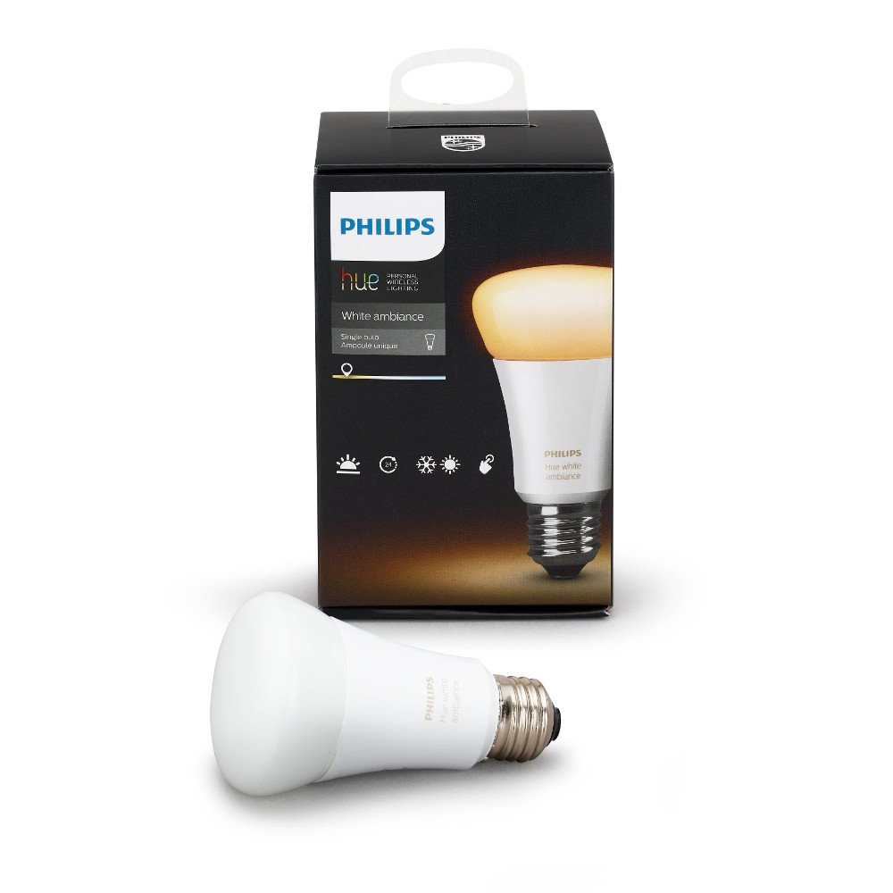 Philips Hue White Ambiance A19 10W Equivalent Dimmable LED Smart Bulb (Works with AlexaApple HomeKitand Google Assistant)