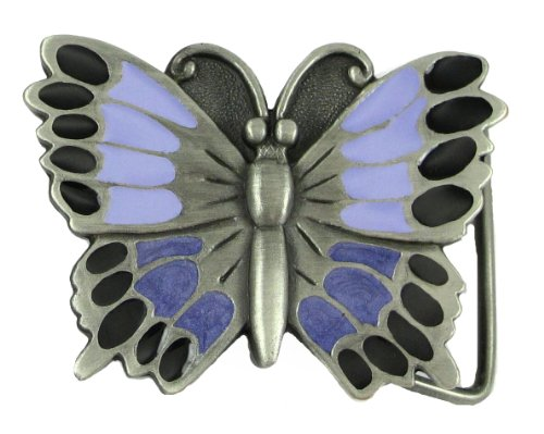 Pewter Belt Buckle - Purple (Butterfly Purple Belt Buckle)
