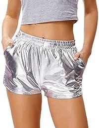 Women's Shiny Metallic Hot Pants Casual Loose Yoga Shorts