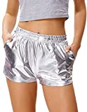 Women's Metallic Pants Sexy Hot Shorts (M,Silver)