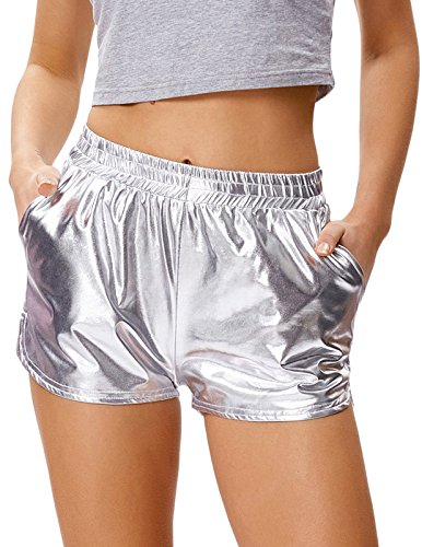 5a32e3513d431 Women's Sport Yoga Hot Pants Shiny Metallic Short Pants(S,Silver) -