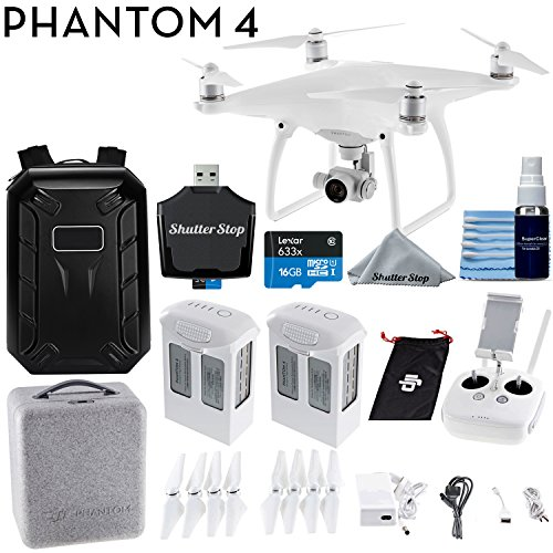 DJI Phantom 4 Quadcopter 4K Video 12mp Camera Drone + Backpack + Starter Bundle with 2 Batteries
