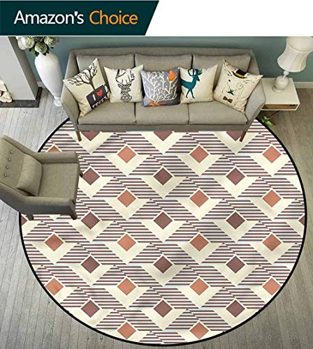 (RUGSMAT Geometric Modern Flannel Microfiber Round Area Rug,Squares and Stripes Protect Floors While Securing Rug Making Vacuuming Round-71)