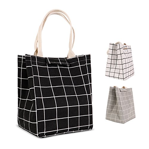 HOMESPON Reusable Lunch Bags Printed Canvas Fabric with Insulated Waterproof Aluminum Foil, Lunch Box for Women, Kids, Students-Long Handle (Checkered Pattern-Black)