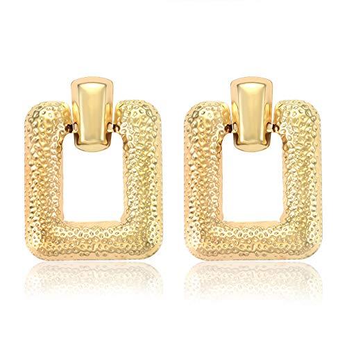 JYM JEWELRY Statement Drop Earrings Gold Square Hoop Dangle Earrings Geometric Big Door Knocker Earrings for Women Girls Nightclub ()