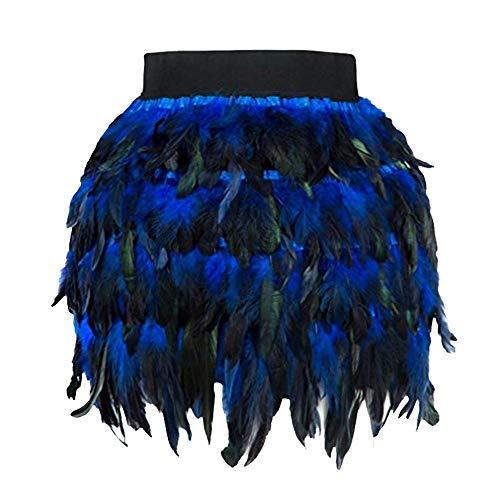 Mini Satin Pleated Skirt - iCODOD Women Fashion Skirt, Faux Fur Feather A Line Cosplay Mini Skirt Christmas Santa Halloween Dress(Blue,L)