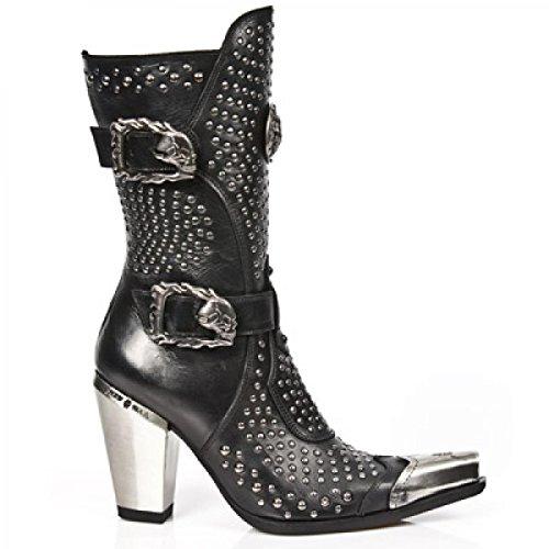 Nuovi Stivali Di Roccia M.7983p-c10 Damen Rocciose Cowboy Occidentali Stiefel Schwarz