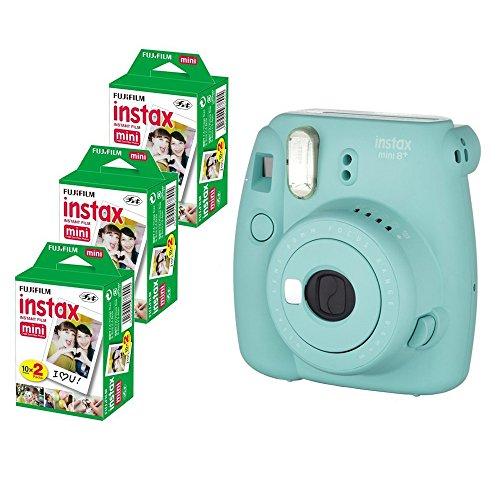 Fujifilm Instax Mini 8+ (Mint) Instant Film Camera with No pattern film 3 x 20 Shoots (Total 60 Shoots) , 60PCS photo fram stickers