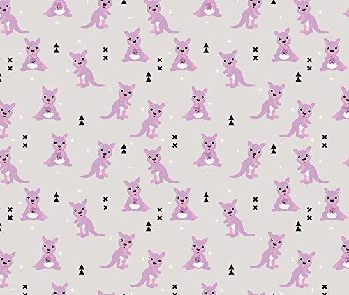 Illustration Pattern Fabric - Australian Animals Kids Geometric Kangaroo Girls Illustration Pattern by littlesmilemakers - Printed on Cotton Poplin Fabric by the Yard
