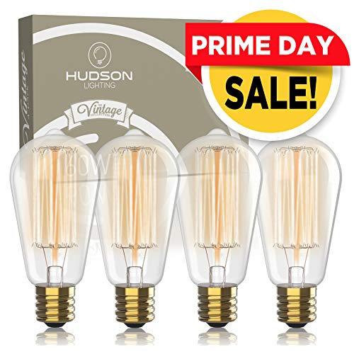 Vintage Incandescent Edison Light Bulbs: 60 Watt, 2100K Warm White Lightbulbs - E26 Base - 230 Lumens - Clear Glass - Dimmable Antique Filament ST64 Light Bulb Set - 4 Pack (Bases Table Unusual)