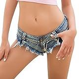 Soojun Women's Flirt Sexy Beach Booty Micro Mini Thong Shorts, Blue, US 2