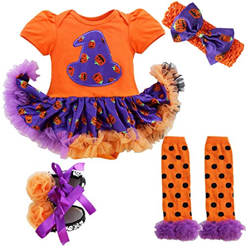 dPois Infant Baby Girls' Halloween Pumpkin 4PCS Outfits Set Romper Tutu Dress with Headband Leg Warmer Shoes Orange (Pumpkin Hat) 0-3 Months -