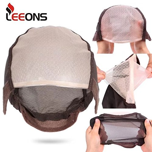 Mono Cap Wig (LEEONS 2pcs Brown Double Front Lace and Mono Net Lace Wig Caps For Making Wigs With Adjustable Strap Weaving Caps for Women)