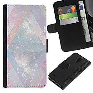 SAMSUNG Galaxy S4 IV / i9500 / SGH-i337 Modelo colorido cuero carpeta tirón caso cubierta piel Holster Funda protección - Universe Mysterious Cosmos Stars Lines