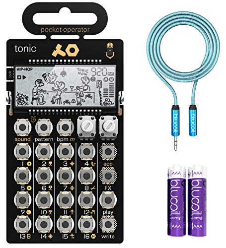 Teenage Engineering PO-32 Tonic Pocket Operator, Built-In Mic, 16 Patterns & Sounds Synthesizer & Sequencer Bundle with Blucoil 6-FT Headphone Extension Cable (3.5mm) & 2 AAA ()