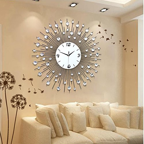 Living room modern minimalist style and creative fashion wall clock bedroom quiet quartz watch 60×60cm