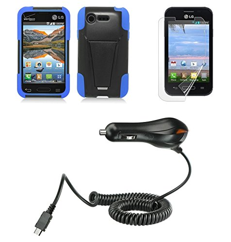 LG Optimus Fuel L34C / Optimus Zone 2 VS415 - Black/Blue [Shockproof Armor Kickstand] Cover Case + Atom LED + PET-Film Screen Protector + Micro USB Car Charger (Car Charger For Optimus Fuel compare prices)
