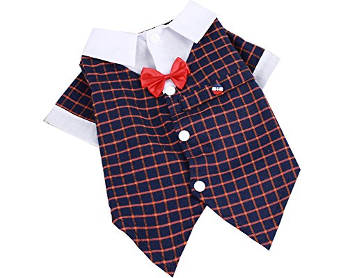 S-Lifeeling Gentleman Comfortable Design Teddy Dog Clothes Fashion PlaidPet Costumes Bowknot Spring Summer Pet Suit Shirt for $<!--$8.99-->