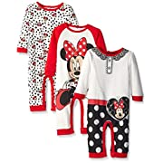 Disney Baby 3 Pack Minnie Coveralls, Red, 6 Months