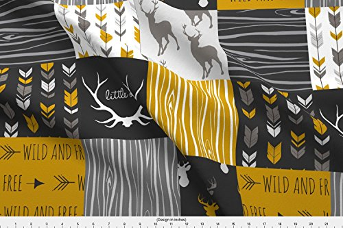 (Woodgrain Fabric - Wholecloth Quilt Fabric- Ironwood -Gold,Charcoal ,Grey Deer, Antler, Arrows, Woodgrain Patchwork Squares by sugarpinedesign - Printed on Basic Cotton Ultra Fabric by the)