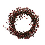 CVHOMEDECO. Rustic Vintage Burgundy Pip Berries Wreath Holiday Berry Wreath for Christmas Plus All Winter Primitive Country Decoration Art, 18-Inch