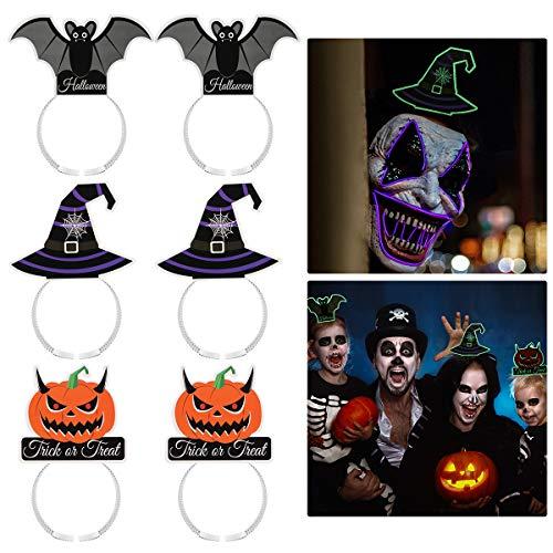 Amosfun 6PCS Halloween Hair Hoop Bat Magic Hat