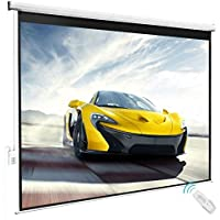 80 x 60 Viewing Area Electric Projector Projection Screen w/ Remote Control Matte White | HD Movie Theater Meeting Room Classroom Home Theater Conference Seminars Presentation