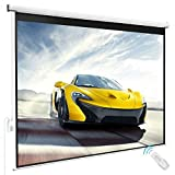80'' x 60'' Viewing Area Electric Projector Projection Screen w/ Remote Control Matte White   HD Movie Theater Meeting Room Classroom Home Theater Conference Seminars Presentation