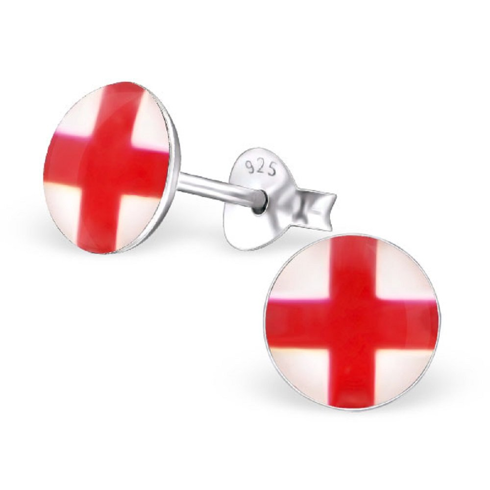 925 Sterling Silver Round England Flag Stud Earrings 24462