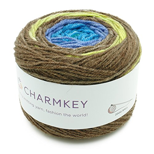 Charmkey Romantic Cake Yarn 4 Ply Super Soft 4 Medium Acrylic Wool Blended Colorful Self Striping Hand Dyed Gradient Mix-Colored Knitting Crocheting Thread, 1 Skein, 7.05 Ounce (Hand Dyed Wool Threads)