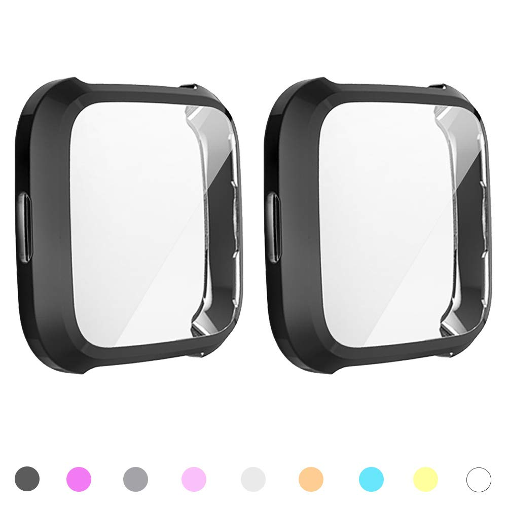8-Pack Screen Protector Case Compatible with Fitbit Versa Lite,All-Around Ultra Slim Soft TPU Plated Cover Scratch-Proof Protective Bumper Shell 8 Colors, Versa lite
