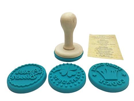 Felicidad-Keksstempel, templo de galletas-Set, sello-juego de accesorios para galletas de la suerte, 4 diseños diferentes + de recetas para que las ...