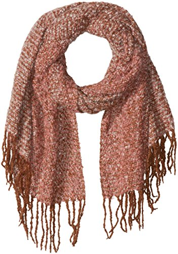 D&Y Women's Multi Colored Boucle Oblong Scarf with Fringe Trim, Burgundy, One Size