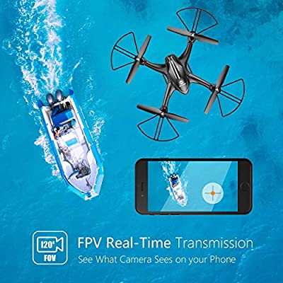 Holy Stone HS200D FPV RC Drone with 720P Camera 120°FOV Live Video WiFi Quadcopter for Beginners and Kids RTF RC Helicopter with Altitude Hold 3D Flips Color Black by Holy Stone