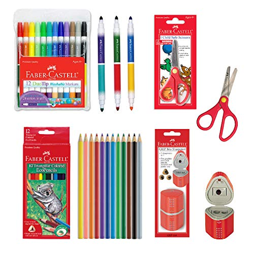 Faber-Castell Back to School Supplies Set - 12 DuoTip Markers, 12 Colored Ecopencils, Child Safe Scissors & Grip Trio Sharpener (Sharpener Color May Vary - Red/Blue)
