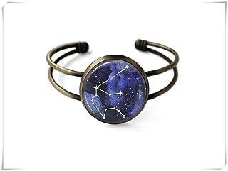 Aquarius Constellation Bracelet,Constellation Jewelry,Galaxy Bracelet,Dome Glass Jewelry, Pure Hand-Made.