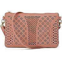 Jiaruo Women Vintage Girls Hollow Out Sling Leather Crossbody Bag Handbag Purse