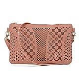 Jiaruo Vintage Girls Hollow Out Sling Leather Crossbody Bag Handbag Purse (pink 2)