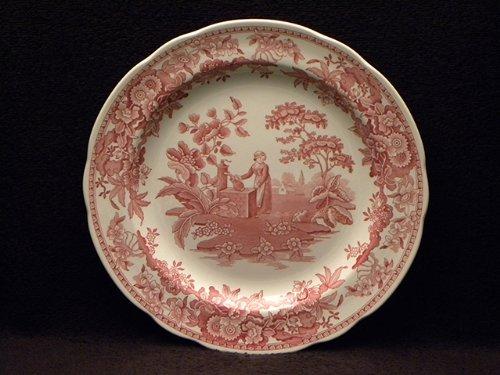Spode Blue Room Georgian Cranberry Dinner Plate-Girl At Well