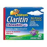 Children's Claritin 24-Hour Non-Drowsy Allergy Grape Chewable Tablet, Antihistamine, 40 Count