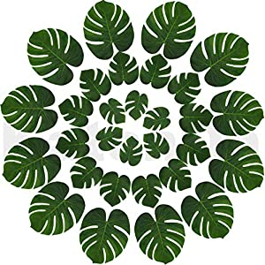 Real Looking Artificial Plant Leaves - Pack of 30 | Monstera Palm Leaves | Tropical Leaves Decorations | Palm Leaves Decorations | Luau Safari Party Supplies | Jungle-Beach-Birthday Theme | 3 Sizes 32