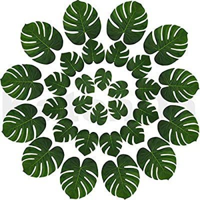 Real Looking Artificial Plant Leaves - Pack of 30 | Monstera Palm Leaves | Tropical Leaves Decorations | Palm Leaves Decorations | Luau Safari Party Supplies | Jungle-Beach-Birthday Theme | 3 Sizes - BEAUTIFUL REAL LOOKING DESIGN --- These beautiful real looking green plant leaves with comfortable silk touch will add fresh natural look to your greenery themed decorations and will make your guests feel like they're in paradise with these realistic polyester leaves EASY TO USE | REUSABLE --- Decorate your home and events with ease with this reusable leaves | Use as Table Decoration | Place it in Vase | Use as Party Favors | Stick Them on Walls | Scatter them all over Event to create a Beautiful Ambience | REUASE AFTER EVENT | Home Living room Deocarions | Dining Table Deocarations | Bedroom Decor | Art Gallery and so much more fun BUY RISK FREE |100% MONEY BACK GUARANTEE If you are not completely satisfied with your purchase from KatchOn Store - living-room-decor, living-room, home-decor - 51m8BKXSxSL. SS400  -