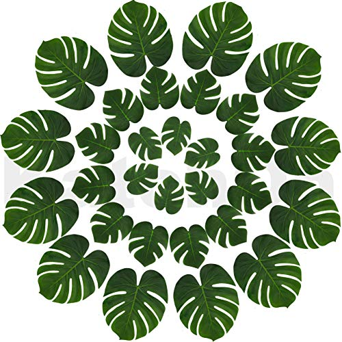 Real Looking Artificial Plant Leaves - Pack of 30 | Monstera Palm Leaves | Tropical Leaves Decorations | Palm Leaves Decorations | Luau Safari Party Supplies | Jungle-Beach-Birthday Theme | 3 Sizes ()