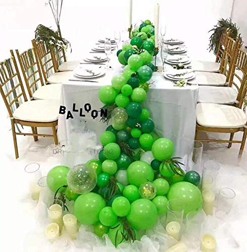 100Pack Green Balloons, 12Inch Green Latex Balloons Premium Helium Quality Dark Green Balloons Light Greeen Balloons for Party Supplies and Decorations(with Green Ribbon) by Y wang (Image #3)