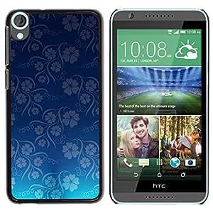 QCASE / HTC Desire 820 / wallpaper flores de color azul estampado de flores / Delgado Negro Plástico caso cubierta Shell Armor Funda Case Cover