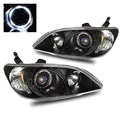 SPPC Projector Headlights Black Assembly Set with Halo For Honda Civic  2/3/4 Door - (Pair) Driver Left and Passenger Right Side Replacement  Headlamp