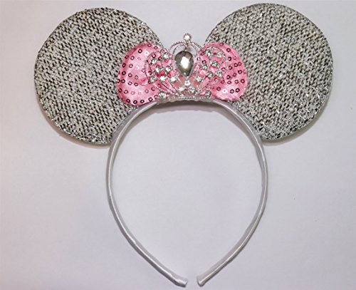 Minnie Mouse Ears Headband Princess Rhinestone Tiara Silver with Pink Bow (Minnie Themed Party)