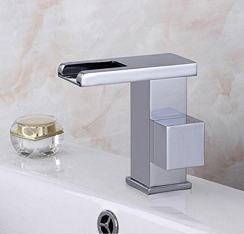 No Light a QUSLT Led Temperature Controlled Water Faucet Wash Basin Wash Basin Platform Basin Full Copper Cold Hot Waterfall Basin Faucet Faucet,Do Not Raise C With Light