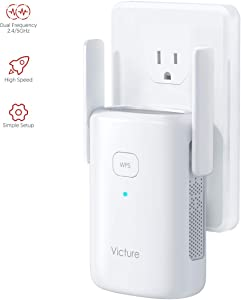 Victure 1200Mbps Dual Band WiFi Range Extender, WiFi Repeater, WiFi Booster, AP, 2.4GHz & 5GHz, with Ethernet Port, WPS, Easy to Install, to Extend WiFi Coverage